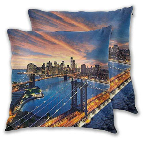 Landscape Square Pillow American City Sunset Over Manhattan and Brooklyn Bridge Cityscape Picture Print Cushion Case for Fall Home Decor Gold Navy 22' x 22', Set of 2 (Insert Not Included)
