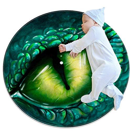 Wetia Augendrache rond tapijt voor kinderen, antislip buitentapijt, zacht, met een suède oppervlak, als cadeau voor kinderen in de woonkamer en in de kinderkamer, 80 x 80 cm