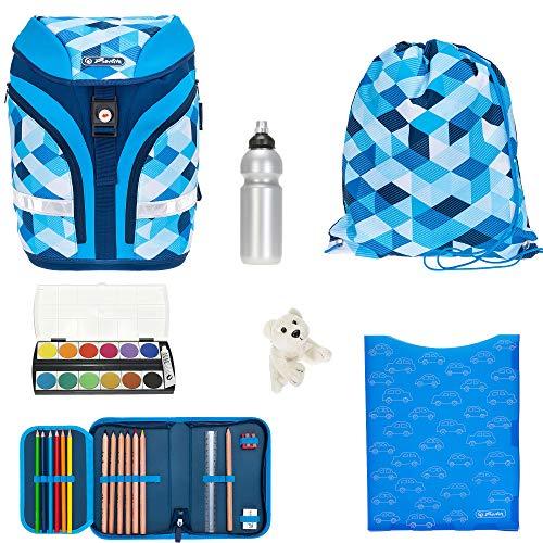 7 Teile Set Schulrucksack Herlitz Motion Plus Rucksack Mädchen Jungen höhenverstellbar efk (Blue Cubes 393)