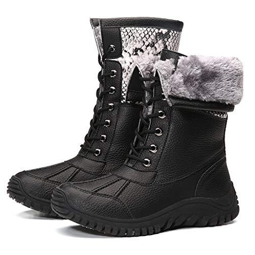Botas de nieve de invierno para mujer, botas de algodón, de alta calidad, botas de terciopelo, botas de nieve, para deportes al aire libre, tallas grandes, color negro, 41