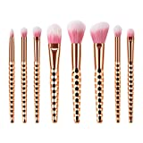 Juego de 8 brochas de maquillaje con mango de plástico y cerdas de nailon suaves de color oro rosa con forma de panal de abeja para mujer (TM-109)