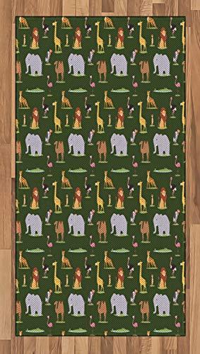 ABAKUHAUS Strauß Teppich, Childish Cartoon Savannah, Deko-Teppich Digitaldruck, Färben mit langfristigen Halt, 80 x 150 cm, Mehrfarbig