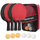 Easy-Room Raquette De Tennis De Table, Set De Tennis De Table, 4 Raquette Ping Pong De Peuplier+6 Balle+1 Sac