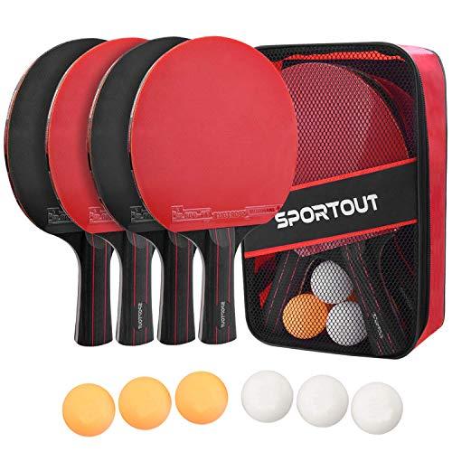 Easyroom 4 Tischtennis-Schläger und 6 Tischtennis-Bälle, Premium Tischtennis-Set, 4 Tischtennisschläger, Ideal für 4 Spieler