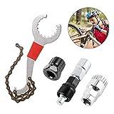 Jooheli Kit d'outils de démontage de cassette de dérailleur de vélo Kit de réparation multifonction Avec fouet à chaîne Outils compatibles 5-11 vitesses pour le démontage de manivelle, chaîne, essieu