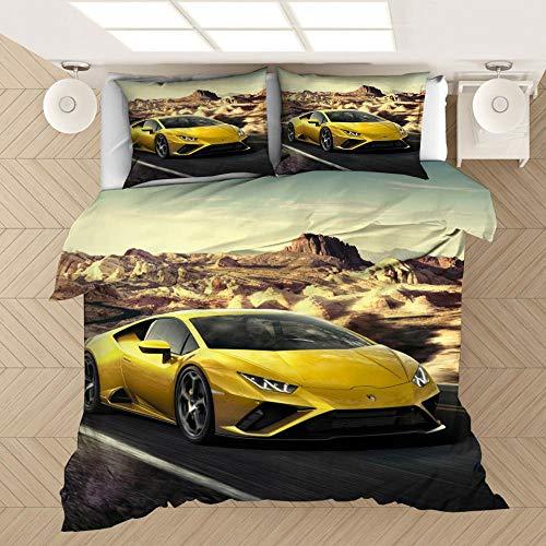 Coche deportivo de lujo 3D kit de ropa de cama con funda nórdica para adultos y adolescentes, cama individual niño, cama doble, ropa...