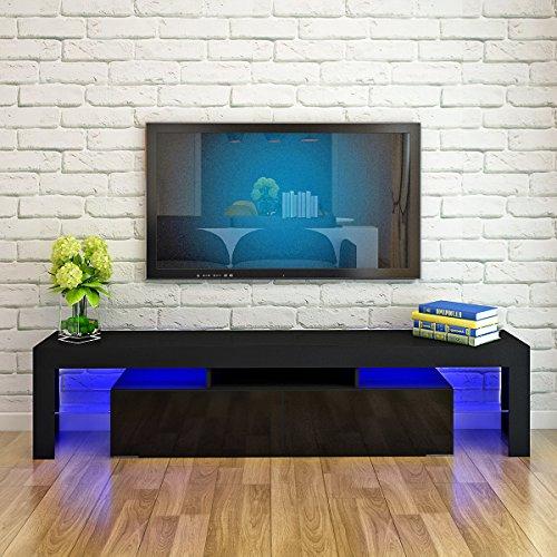 160cm LED TV Stand Cabinet Unit Modern TV Desk High Gloss Front RGB LED Living Room Furniture TV Cabinets(Black Matt body and Black Gloss Doors)
