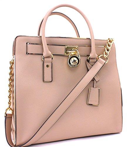 Michael Kors Hamilton Specchio N S tote Oyster Gold Bag New