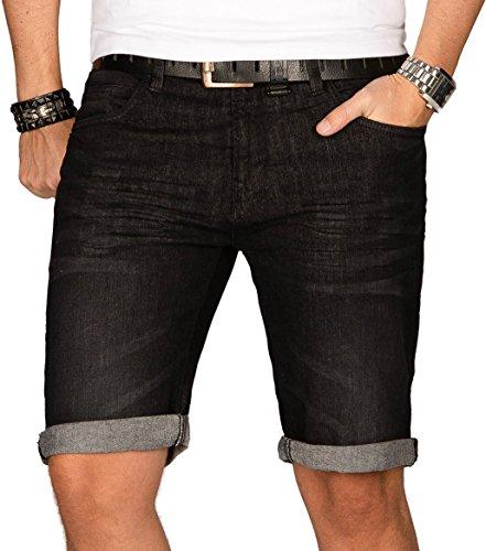 Indicode Herren Sommer Jeans Shorts Kurze Hose Sommerhose Short Bermuda B556a [B556a-Schwarz-Gr.XXL]