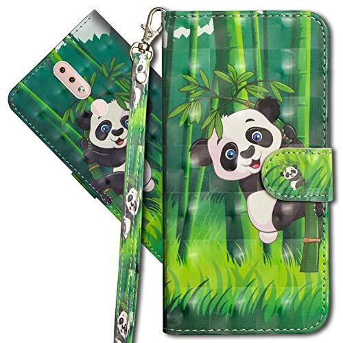 MRSTER Nokia 4.2 Handytasche, Leder Schutzhülle Brieftasche Hülle Flip Hülle 3D Muster Cover mit Kartenfach Magnet Tasche Handyhüllen für Nokia 4.2. YX 3D - Panda Bamboo