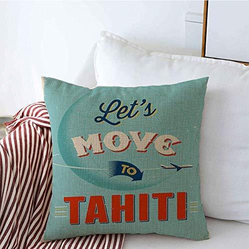 Zierkissenbezug Zierkissenhülle Kissenbezug Vintage Zitat Reisen Französisch 10 Reise Besuch Papier Poster Weg lässt uns Tahiti Zeichen Symbole bewegen Dekokissen Kissen Bezug 45X45CM