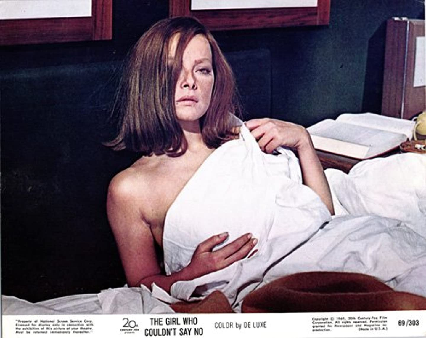 Girl Who Couldn't Say No original lobby card Virna Lisi in bed bare shoulder