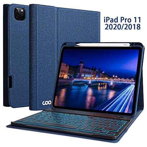 Keyboard Case for iPad Pro 11 2020 (2nd Generation)/iPad Pro 11 2018 - Wireless Detachable Keyboard Smart Case with Pencil Holder for New iPad Pro 11 inch - Support Apple Pencil 2nd Gen Charging