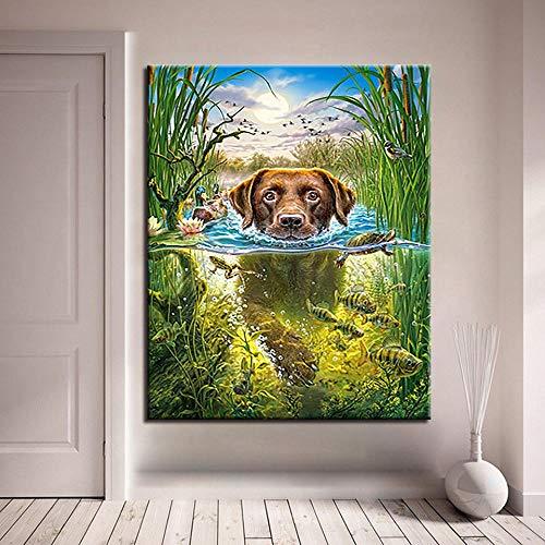 SiJOO Pittura Digitale Pittura a Olio Fai da Te Dipinto a Mano Nuoto Cane Tela Arte della Parete colorazione Animale Pesce Quadro Pittura Decorazione della casa Regalo
