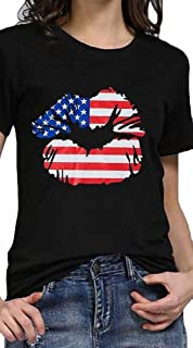 OTW Womens Loose Summer Crew Neck Lip-Print UAS Flag Print Cotton T-Shirt Blouse Top