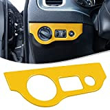 LAIKOU Headlight Switch Trim ABS Decoration Cover Button Panel Sticker Interior Accessories for 2010-2021 Dodge Charger,for 2015-2021 Dodge Challenger (Yellow)