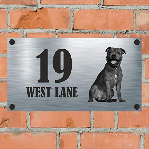 Precision Design Dog Collection - Staffie Aluminium House Sign Personalised With Your House Name/Number & Street Name - Staffordshire Bull Terrier/Staffy