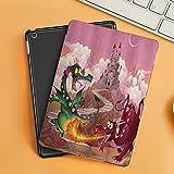 Funda iPad 10.2 Inch 2018/2019,Fantasía Divertida Dragones en Llamas Delante de Castle Fable Comic Legend Criaturas Ilustración,Cubierta Trasera Delgada Smart Auto Wake/Sleep