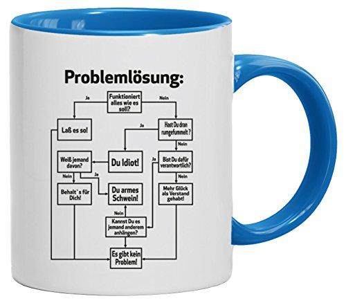 Lustige Geschenkidee Bürohumor Büro Kaffeetasse 2-farbige Tasse Problemlösung, Größe: onesize,weiß/hellblau