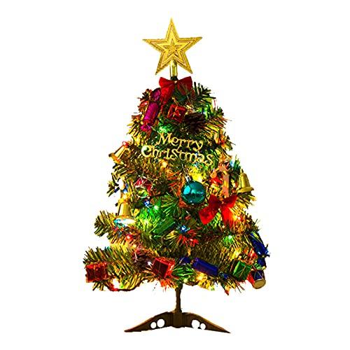 Mini albero di Natale da tavolo da 50 cm di pino artificiale con decorazioni da appendere e luci a LED, albero di Natale per casa, cucina, tavolo da pranzo fai da te decorazioni natalizie