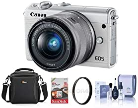 Canon EOS M100 Mirrorless Camera with EF-M 15-45mm f/3.5-6.3 is STM Lens, White - Bundle with 16GB SDHC Card, Camera Case, 49mm UV Filter, Cleaning Kit