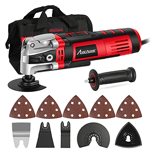 AVID POWER Oscillating Tool, 3.5-Amp Oscillating Multi Tool with 4.5°Oscillation Angle, 6 Variable Speeds and 13pcs Saw Accessories, Auxiliary Handle and Carrying Bag