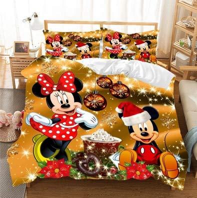 Amacigana Disney Minnie and Mickey Children's - Juego de funda de edredón y funda de almohada (tamaño A3,135 x 200 cm + 50 x 75 cm)