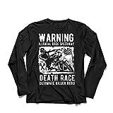 lepni.me Camiseta de Manga Larga para Hombre Carrera de la Muerte: Paseo definitivo, Carreras de Motos, Motorista de cráneo, clásico, Vintage, Moto Retro (XXXX-Large Negro Multicolor)