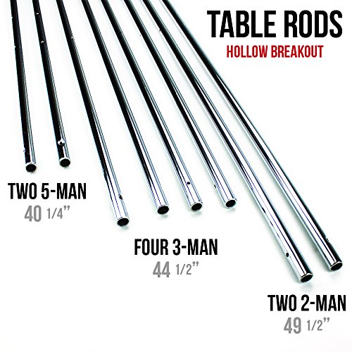 Brybelly Hollow 5/8-Inch Steel Rods for Standard Foosball Tables (Set of 8)