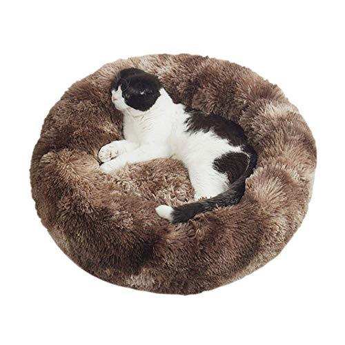 Atmungsaktiv Waschbar Hundebett Flauschiges Katzenkissen Warm Haustier Schlaftplatz Donut Höhlenbett Flauschiges Hundematratze für kleine, Mittelgroße und Große Hunde Katzen