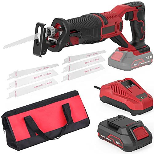 Cordless Reciprocating Saw, 20V 2.0Ah Lithium Battery Pack, 0-3000RPM Variable Speed, 6 Saw Blades Wood/Metal/PVC Pile Cutting Electric Saw with Orbital Cutting Switch