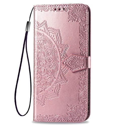 KERUN Hülle für LG Velvet 4G/5G/5G UW Flip Lederhülle, 3D Mandala Muster Geprägte Prägung Handyhülle, Premium Leder Brieftasche Handytasche Schutzhülle mit Kartenfach Standfunktion.Rosé Gold