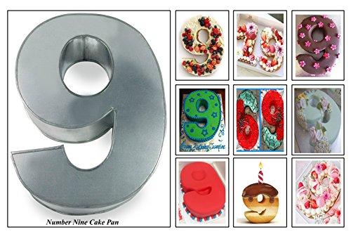Euro TINS Teglia Grande Numero Nove per Dolce di Compleanno o ricorrenza (Misura 35.5 x 25.4cm - profondità 7.6cm)