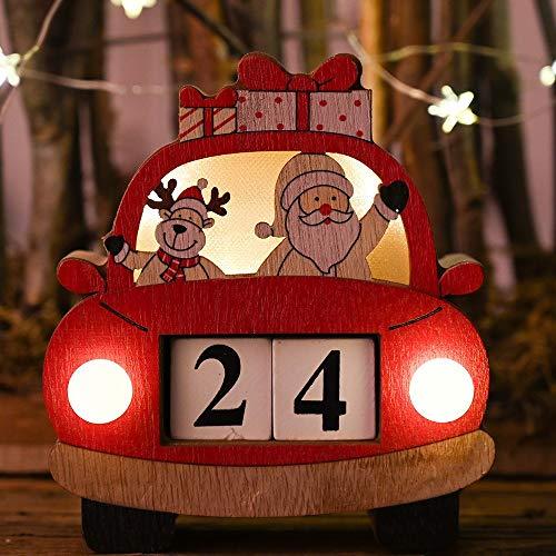 LOHOX Árbol de Navidad Fieltro Coche Iluminado Calendario Perpetuo de Escritorio de Madera en Estilo Navideño Adorno Decorativo de Hogar y Oficina (Sin Batería)