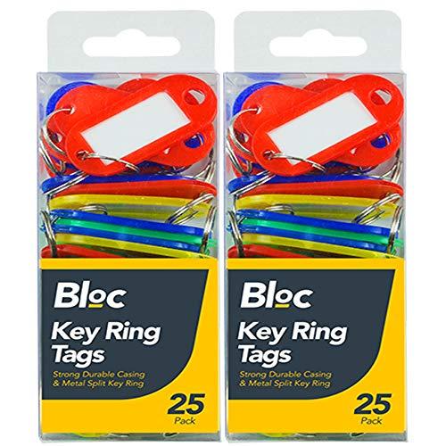 50 x Schlüsselanhänger in verschiedenen Farben, Kunststoffringe, ID-Tags, Sicherheitskarten, Autoschlüssel, Haus- und Bürobedarf, Kunststoff-Metall-Schlüsselanhänger UK FRE P & P