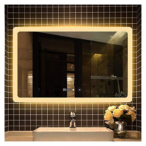 Espejo de baño montado en la pared, espejo de afeitado inteligente táctil, luz LED de dos colores, espejo de tocador rectangular (color: doble botón táctil, tamaño: 60 x 80 cm)
