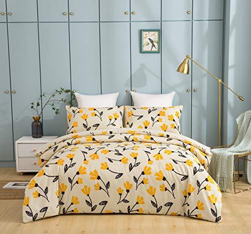 DaDa Bedding Fresh Sunshine Duvet Cover - Yellow Fleur Tulips Floral w/Pillow Cases - Bright Vibrant Botanical Garden Flowers - Comforter Cover w/Corner Ties Zipper - Full Size - 3-Pieces