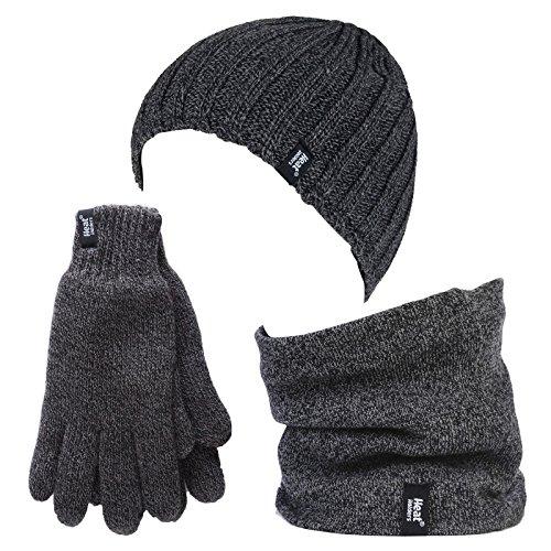 Heat Holders - Ensemble de bonnet, cache-cou et gants en polaire thermique pour l'hiver pour homme. - Gris - Taille Unique