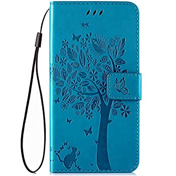 IKASEFU Compatible with MOTO G7 Power Case Emboss Pu Leather Wallet Strap Case Card Slots Shockproof Magnetic Kickstand Feature Slim Fit Folio Flip Book Cover Protective Bumper Case,Blue