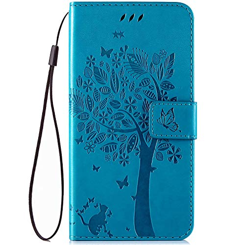 IKASEFU Compatible With MOTO G Power Case Emboss Pu Leather Wallet Strap Case Card Slots Shockproof Magnetic Kickstand Feature Slim Fit Folio Flip Book Cover Protective Bumper Case Blue