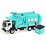 duturpo 1/43 Scale Diecast Collectible Waste Management Truck with Trash Bin, Metal Recycling Garbage Truck Toys for Kids (Green)