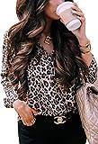 ECOWISH Womens V Neck Leopard Casual Print Tunic Long Sleeve Button Down Shirt Tops 229Khaki S