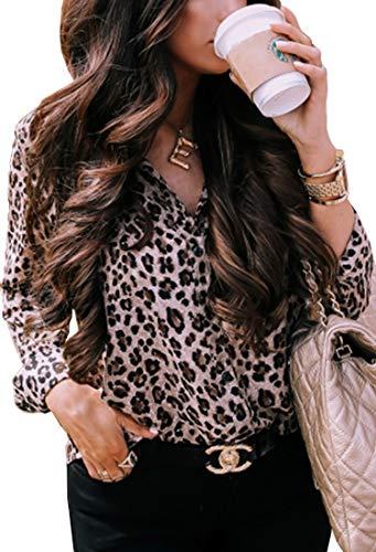 ECOWISH Damen Bluse Leopardenmuster Hemd V Ausschnitt Button Down Shirt Kragen Langarmshirt Oberteile Top 229 Khaki M