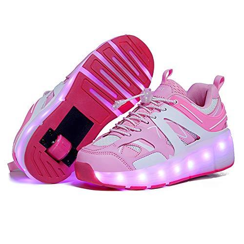 Jungen und mädchen led leuchtende Sneakers Vier Jahreszeiten universal Skates Bequeme Casual Schuhe Rollschuhe,Rosa,32