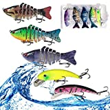 CDYKLCB Fishing Lures for Bass, Lifelike Artificial Bait 5pcs Fishing Lures Bass Lures Set Fishing Swim Baits Slow Sinking Hard Lure Fishing Tackle Kits with a Tackle Box for Freshwater Saltwater