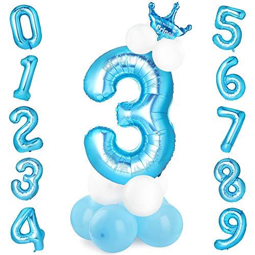 GeeRic Globo Numero 3, Globos numeros Gigantes de cumpleaños Globos de Colores de látex para niños, bautizos, Decoraciones de Fiesta de graduación de Bodas Azul