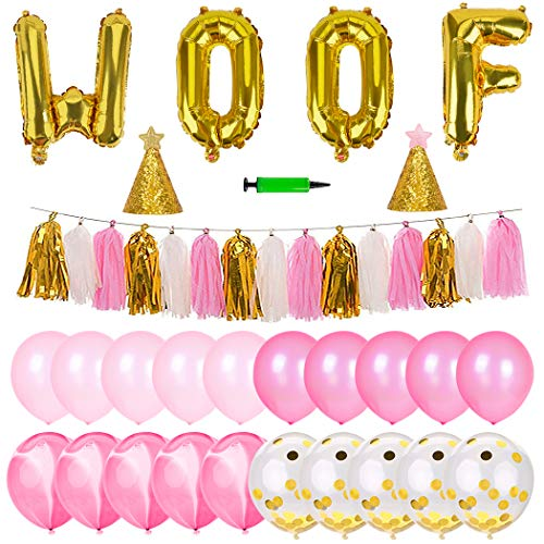 Legendog Dog Birthday Party Supplies, Dog Girl or Boy Birthday Party Decorations, Dog Birthday Hat, Happy Dog Birthday Party Decorations (Pink)