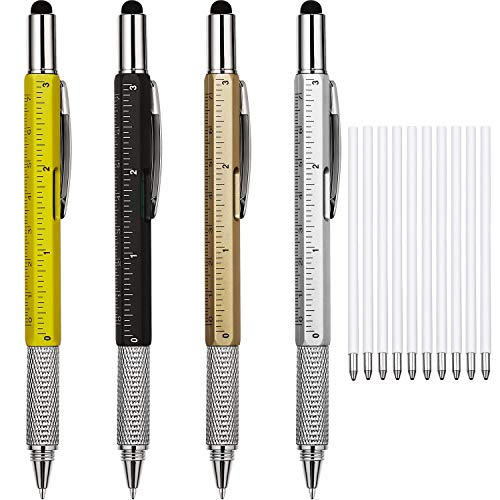4 Pieces Gift Pen for Men 6 in 1 Multitool Tech Tool Pen Screwdriver Pen with Ruler, Levelgauge,...