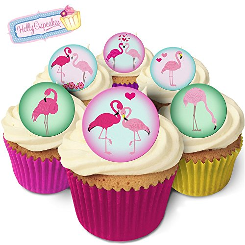 24 Edible Pre-Cut Wafer Round Cake Toppers: 6 Beautiful Flamingo designs