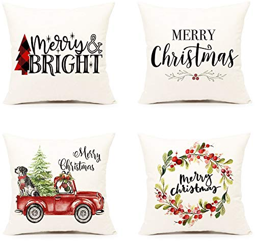 Ovovod Christmas Pillow Covers Set of 4, 18×18 Throw Cushion Pillow Case for Home Decorations Unique Designs Christmas Pillowcase for Living Room Sofa